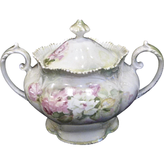 Signed R S Prussia Double Handle Sugar Bowl