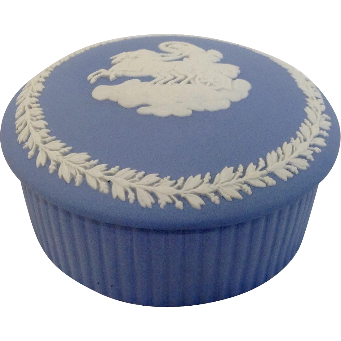 Wedgwood Blue Jasperware Round Trinket Box