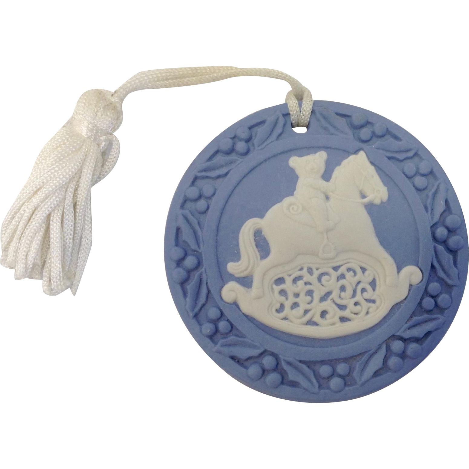 Wedgwood Blue Jasperware Teddy Bear on Rocking Horse Ornament