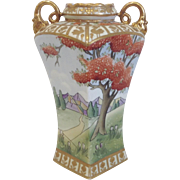 "Exquisite 10"" Nippon Square Handled Vase, Cherry Blossoms"