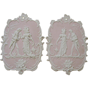 Pair Arnart Pink Jasperware Courting Couple Wall Plaques