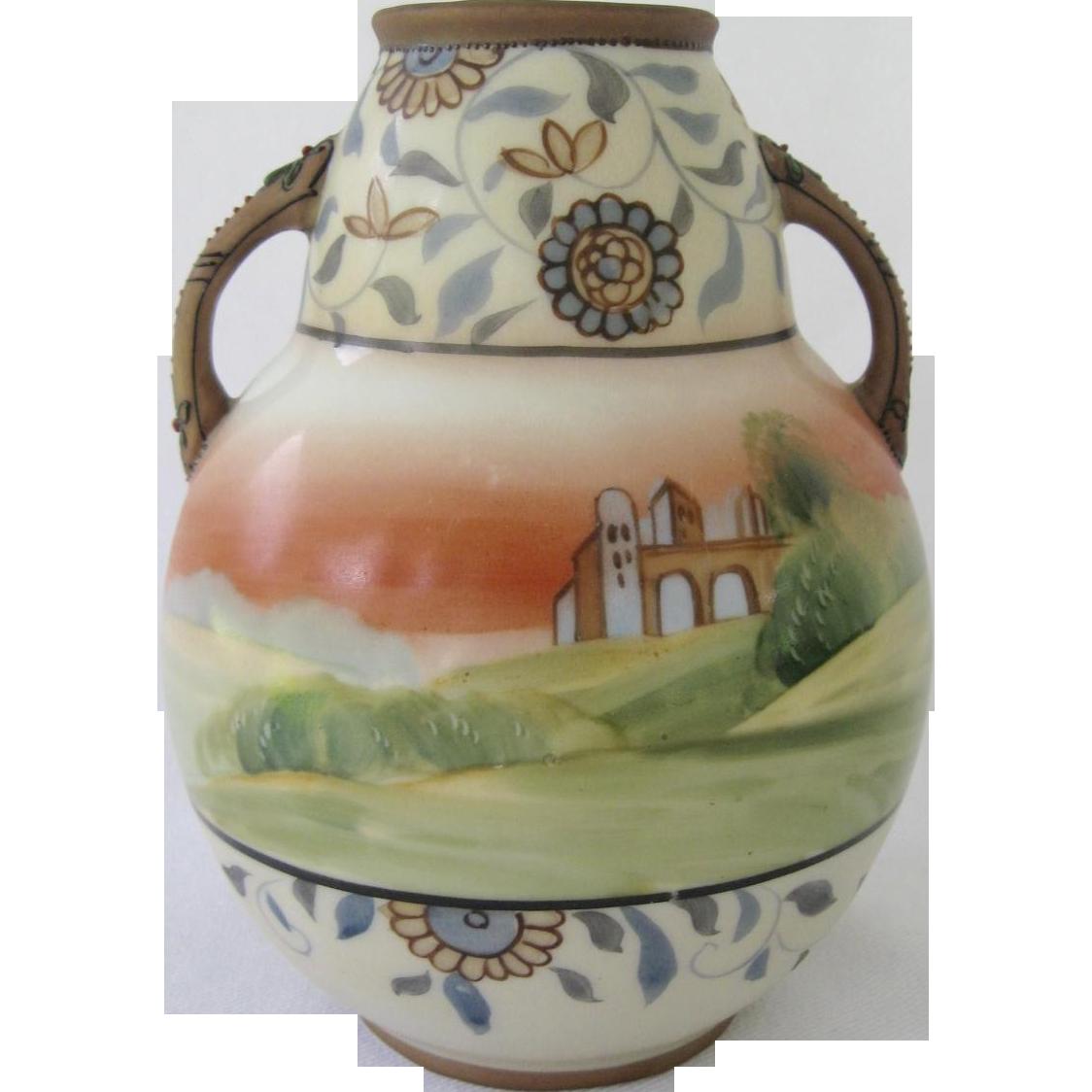 Fabulous Nippon Scenic Double Handle Vase, Raised Decoration