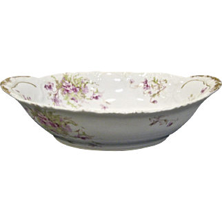 T Haviland Limoges Oval Vegetable Bowl, Scattered Lavender Flowers