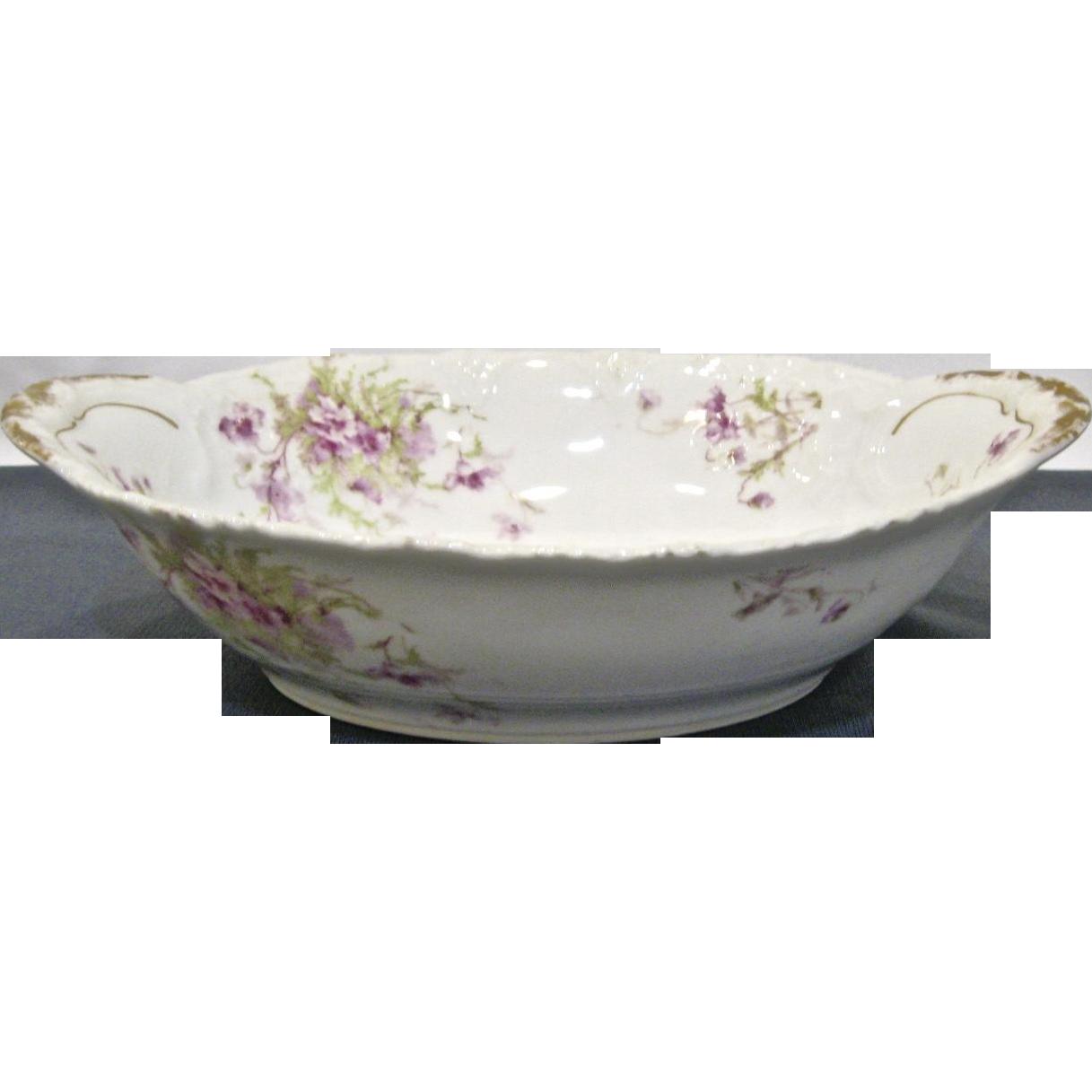 T Haviland Limoges Oval Vegetable Bowl, Scattered Lavender Flowers