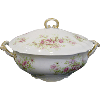 Antique Guerin Limoges Lidded Tureen, Scattered Pink Flowers