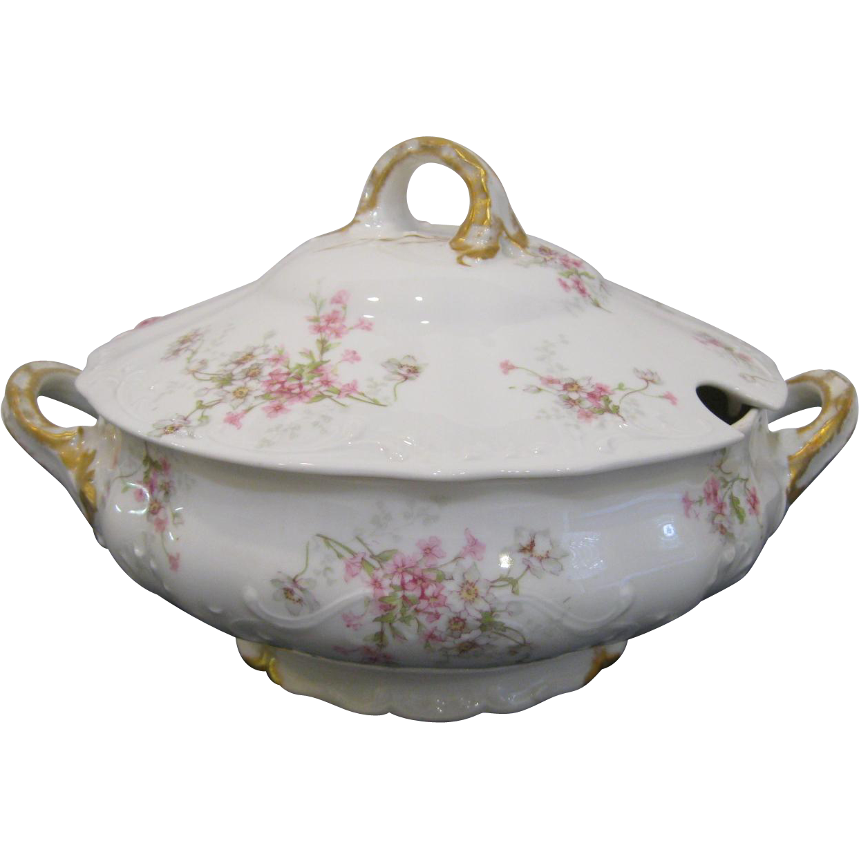 T Haviland Limoges Tureen with Lid,  Scattered Pink and White Flowers, Green Leaves, Gold Trim