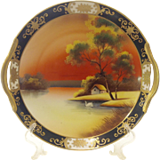 1920s Noritake Scenic Swan Double Handle Plate