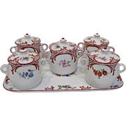 Czech Pots de Creme Set with Tray