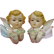 Adorable Vintage Pair Baby Angel Cherub Wall Plaques
