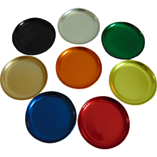 Set of 8 Mid Century Modern Aluminum Coasters