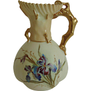 Antique Royal Worcester Blush Ivory Cabinet Pitcher Vase with Iris