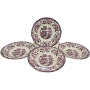Set of Four Royal Staffordshire Clarice Cliff Tonquin Plum Purple Soup Bowls