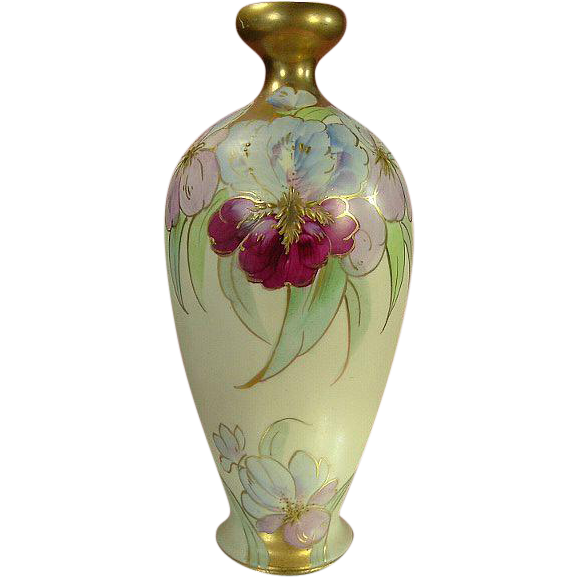 Exquisite Antique Gold and Parrot Tulips Hand Painted Vase