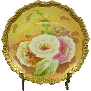 Coronet Limoges Gold Encrusted Poppies Plate, Artist Signed
