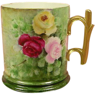 Limoges Pouyat Roses Mug with Gold Rose Stem Handle