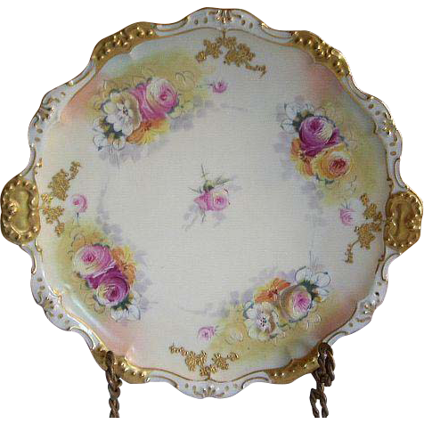 Limoges Coiffe/Straus Gilt & Roses Double Handle Charger Plate