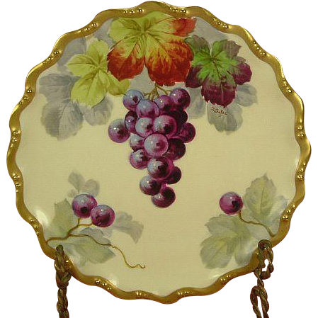 Coiffe Beaux-Arts Limoges Purple Grapes & Leaves Plate, Listed Artist Signed