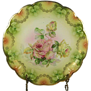 "Antique Roses Bavarian Porcelain 12"" Charger Plate"