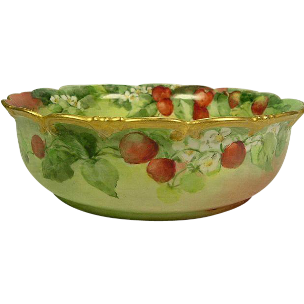 Exceptional Hand Painted Limoges Porcelain Strawberries Pudding Bowl
