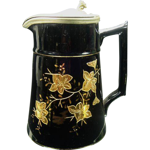 1800's Antique Jackfield Syrup Pitcher, Gold Enamel Leaf Decoration