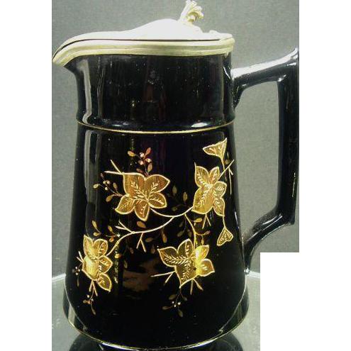 1800's Antique Jackfield Syrup Pitcher, Gold Enamel Leaf Decoration