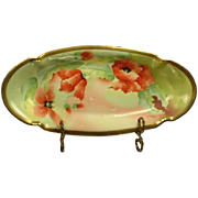 Mavaleix/Coronet Limoges Poppies Bread Tray, Signed Durand