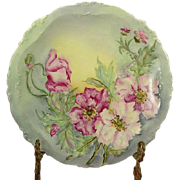 Charles Martin Limoges Pink Poppies Plate 1890's