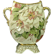"1890's Redon Limoges 8 1/2"" Double Handle Flowers & Portrait Vase"