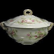 Wm Guerin Limoges Porcelain Lidded Soup Tureen, Pink Roses