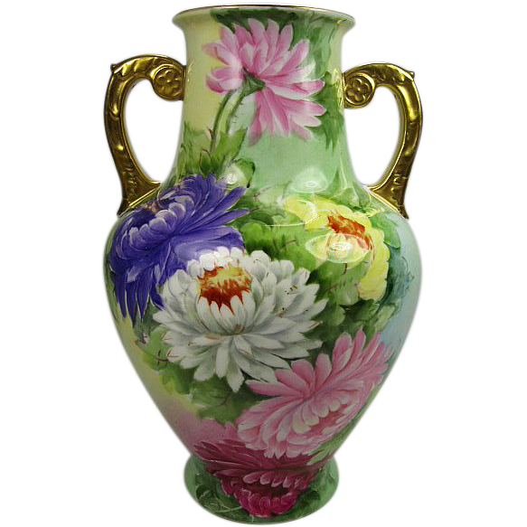 Double Handle Hand Painted Chrysanthemums Vase