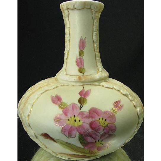 Late 1800's Rudolstadt Vase, Hand Painted Flowers, Gilt Trim