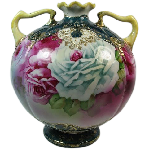 Fabulous Nippon ROSES Double Handle Ball Vase, Gilt Enamel