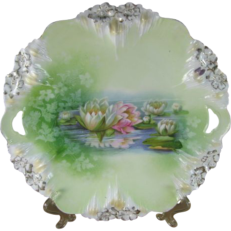 R S Prussia Reflecting Water Lilies Cake Plate, Icicle Mold