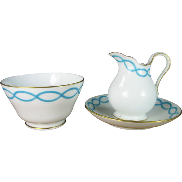 Minton Pattern 8466 Intertwined Turquoise Bands Sugar, Creamer, and Underplate