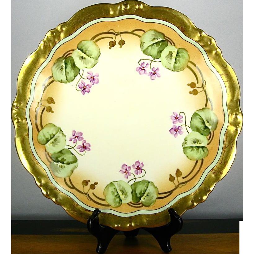 Antique Elite/Bawo & Dotter Limoges Hand Painted Violets Charger