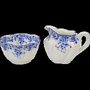 Shelley Dainty Blue Creamer and Sugar Bowl