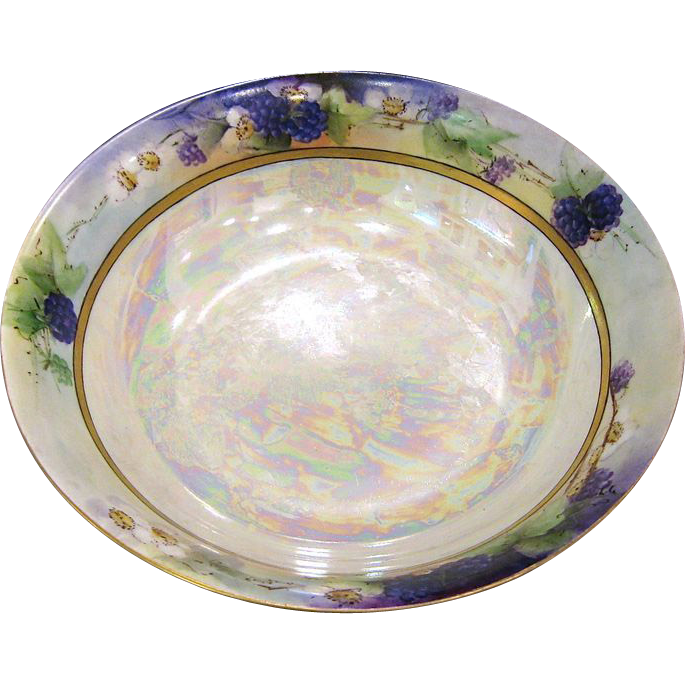 1920s KPM Porcelain Luster Bowl with Grapes