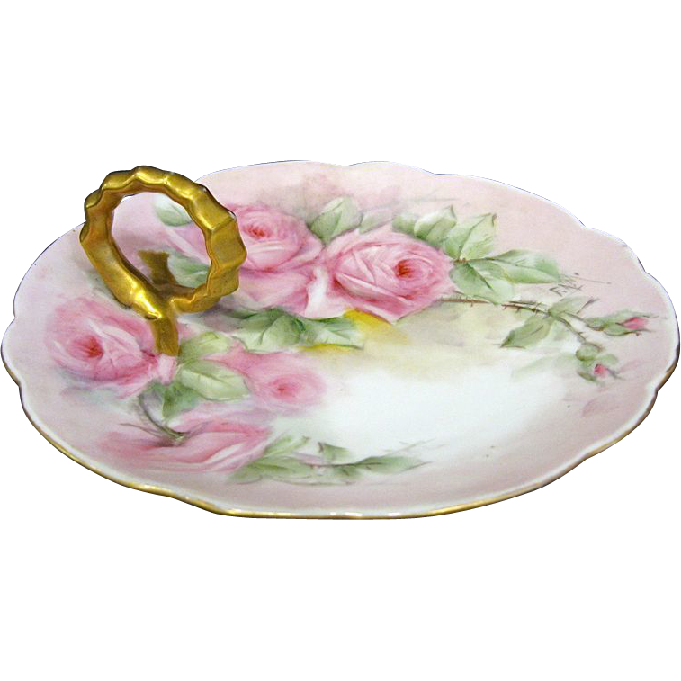 Limoges Porcelain Ring Handle Bon Bon Pink Roses