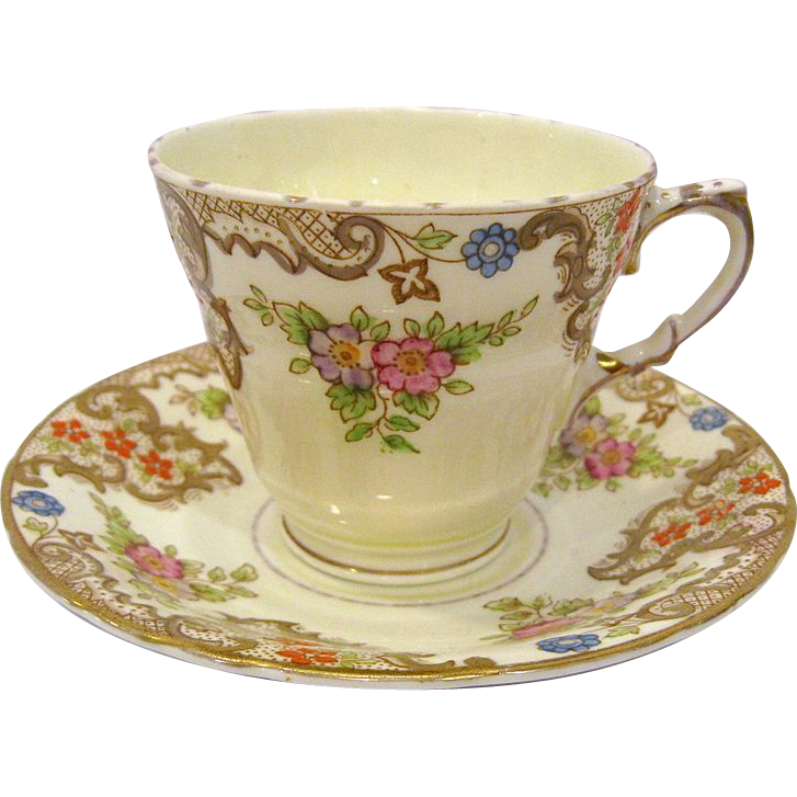 Sutherland Bone China Cup and Saucer Flowers, Gold Trim