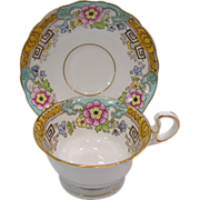 Fenton Radfords Floral & Greek Key Bone China Cups and Saucer, Stand Included
