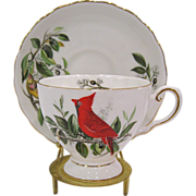Royal Tuscan Audubon Birds Cardinal Cup and Saucer, Stand Included