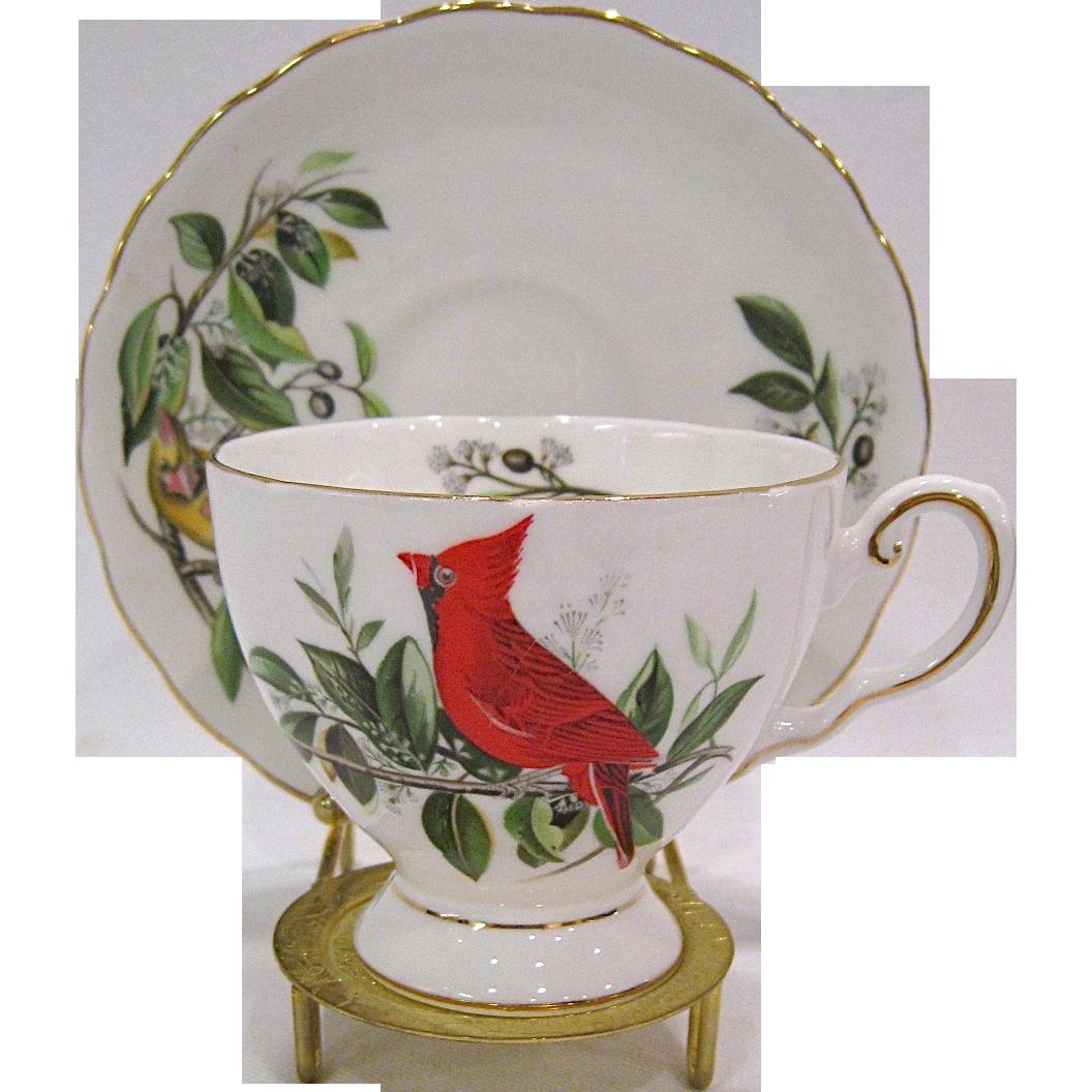 Royal Tuscan Audubon Birds Cardinal Cup and Saucer, Stand Included