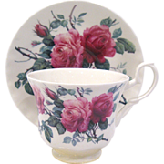 Roy Kirkham English Rose Bone China Cup & Saucer, Display Stand Included