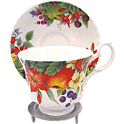 Roy Kirkham Summer Fruits Bone China Cup & Saucer, Display Stand Included