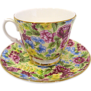Bethany Staffordshire Fine Bone China Chintz Cup & Saucer with Display Stand