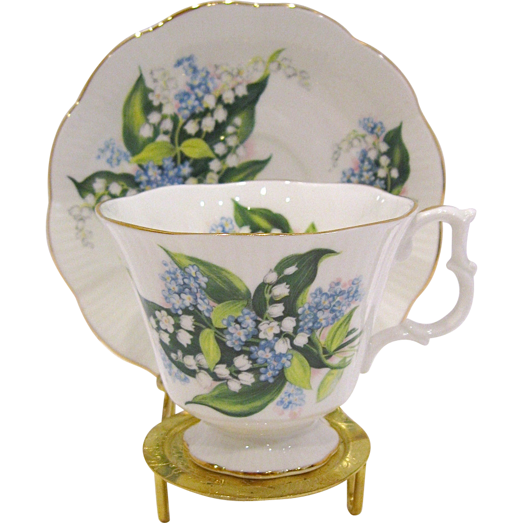 Royal Albert Lily of the Valley Bone China Cup & Saucer, Display Stand Included