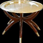 Mid Century Modern Brass & Teak Spider Leg Table