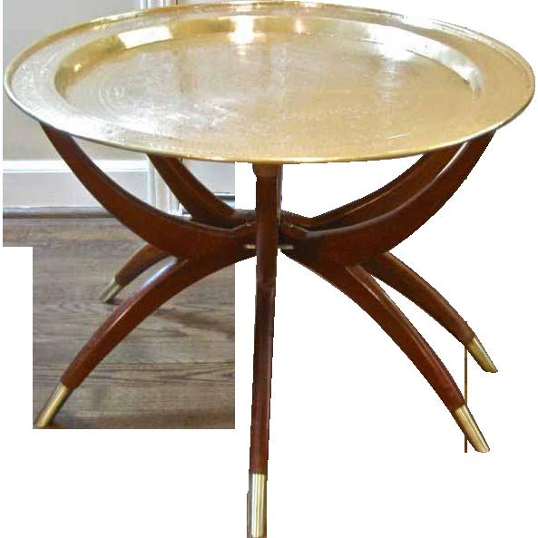 Marvelous Mid Century Modern Brass U0026 Teak Spider Leg Table