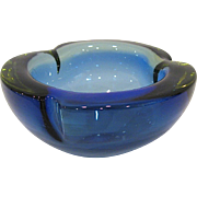 Cenedese Murano Uranium, Clear, and Cobalt Geode Bowl