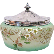 Signed Pairpoint Hand Painted Oval Biscuit Jar or Jewel Box with Silver Lid - Red Tag Sale Item